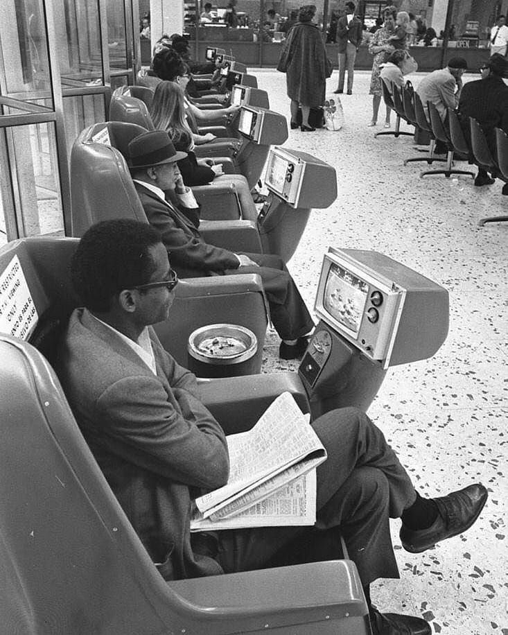 Lost In History On Instagram Passengers Watching Coin Operated Tvs Greyhound Bus Station Los Angeles 1969 Greyhound Bus Greyhound Bus Station