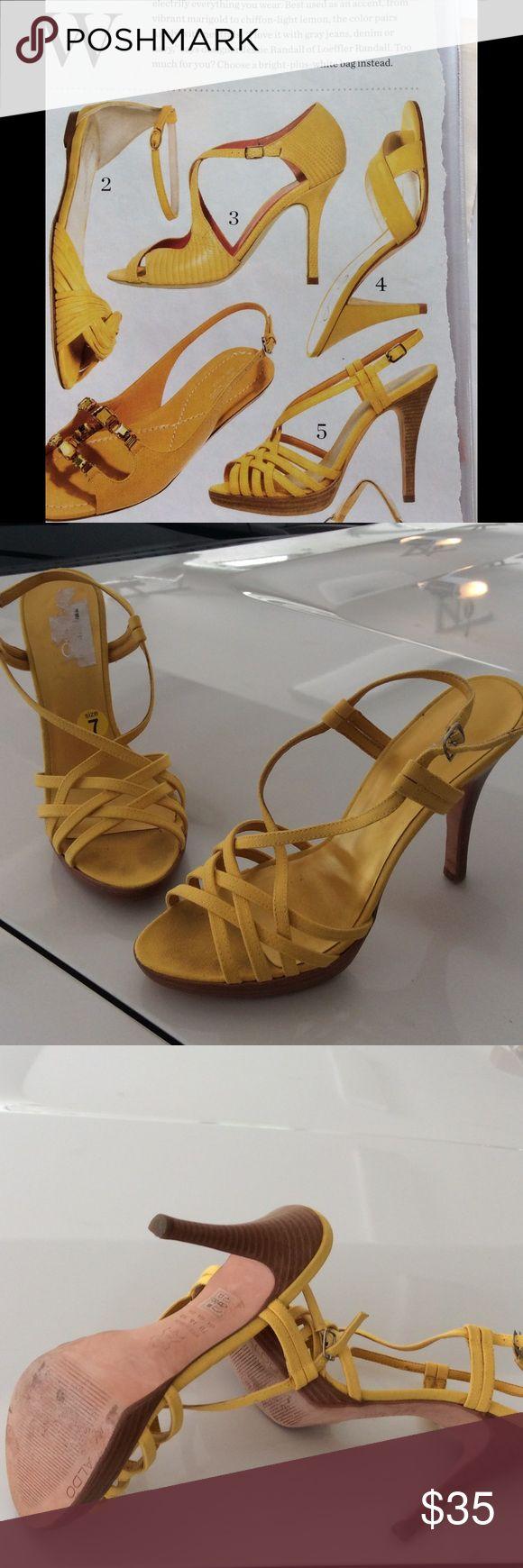 No 5 sunny yellow strappy heels Cute summer heels great shape ALDO Shoes Heels