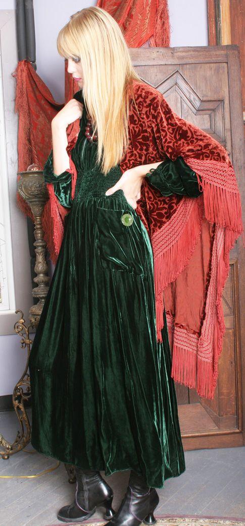Gypsy Moon: Romantic Vintage Inspired Clothing, green velvet bohemian boho dress.