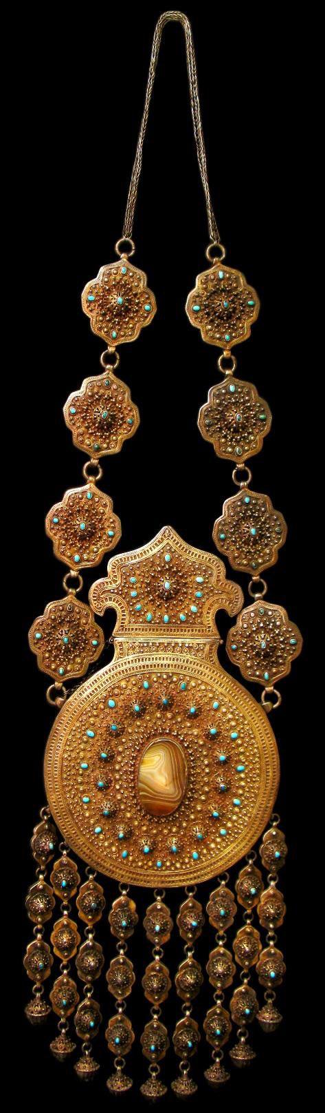 Uzbekistan   Rare Silver Gilt, Turquoise & Agate Equestrian Koranic Amulet Case   19th century, Emirate of Bukhara   Sold