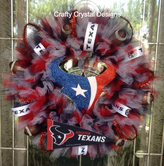 Houston Texans Bull Football Wreath by CraftyCrystalDesigns, $75.00