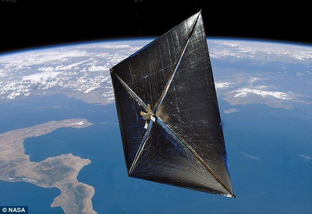 A modern-day solar sail, propelled by solar winds (emanating from the sun's corona and consisting of a flow of charged particles, mainly electrons and protons.)