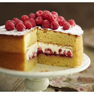 The Best-Ever Sponge Cake recipe! Victoria sponge with fresh raspberries and cream. Yummy!
