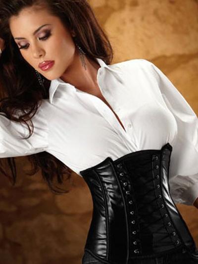 Cool Black PVC Womens Lingerie Top