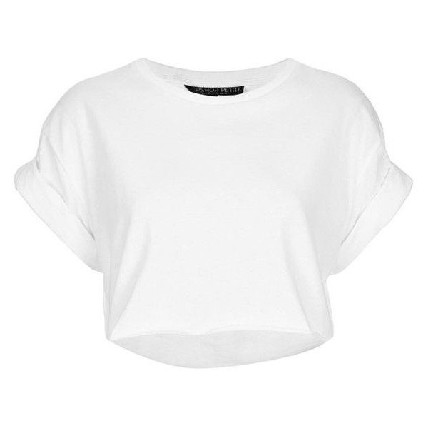 TOPSHOP Petite Roll Back Crop Tee ❤ liked on Polyvore featuring tops, t-shirts, petite t shirts, white top, white tee, white crop t shirt and white t shirt