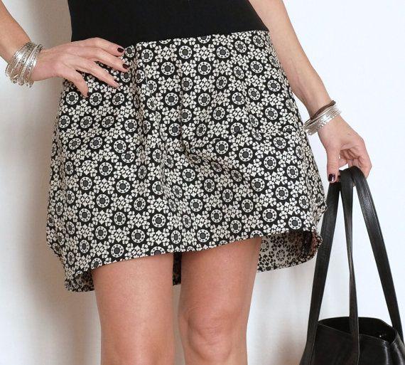 Bubble Skirt - Cotton Skirt - Short Skirt - Large Skirt - Black and White Clothing - Modern Skirt - Curvy Womens - Above the Knee Skirt