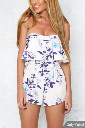 Floral Print Strapless Playsuit with Layered Details - US$23.95 -YOINS
