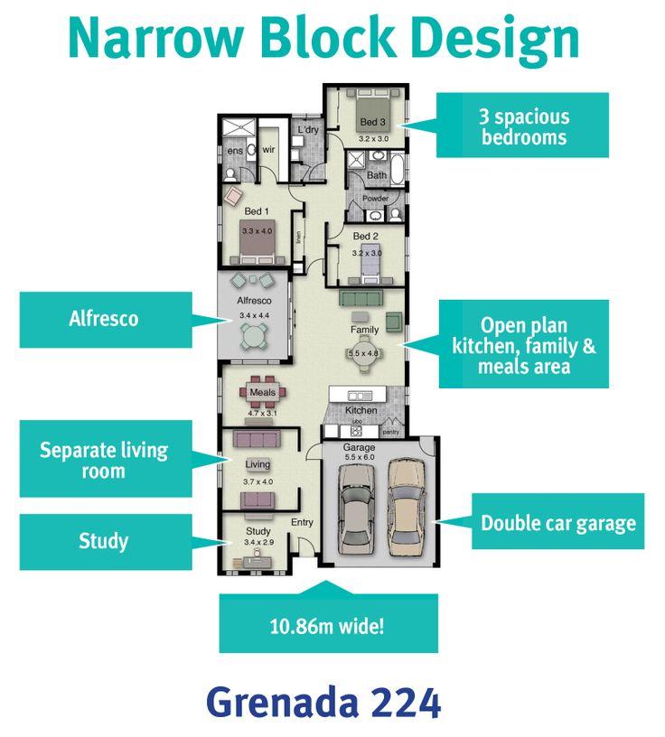 19 best narrow block plans images on pinterest floor for New home designs for narrow blocks