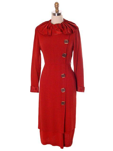 Vintage Womens Slim Fit Day Dress 1930s Burnt Orange Crepe 36-30-38