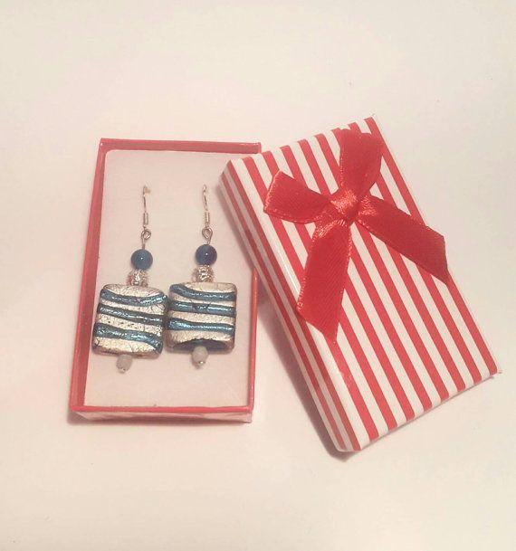 Dangle earrings, drop earrings, silver drop earrings, Lampwork earrings,sparkly earrings, blue earrings, costume jewellery, gift boxed