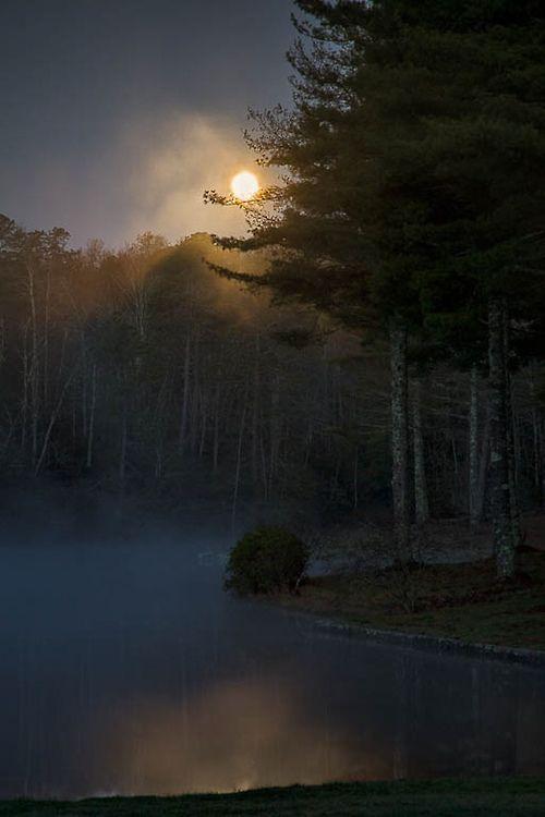 intomymindseye:  Misty Moon на каменное озеро (Rob Трэвис)