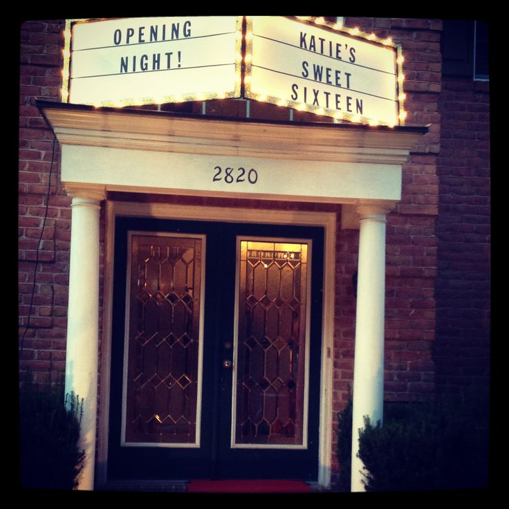 Broadway party entrance marquee. Using rope lights, a plastic poster frame and card stock letters.