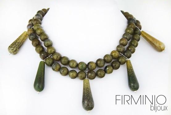 #Girocollo in #perle di #agata di fuoco, con pendagli ed inserti in #argento 925. #Necklace with fire #agate #pearls, pendants and #silver hooks. $175