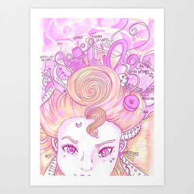 Sew tools anime girl <3  Ho realizzato questa illustrazione per le amanti dell'handmade, da appendere nel vostro laboratorio ;) la stampa è in vendita su society6...la trovate anche in forma di tazza, borsa, custodia per cellulare etcetc <3 You can find this print on Society6 ;)