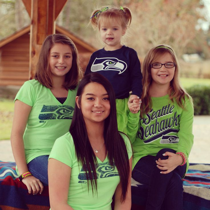 Seahawks shirts from Sports Authority and Fred Meyer. Neon