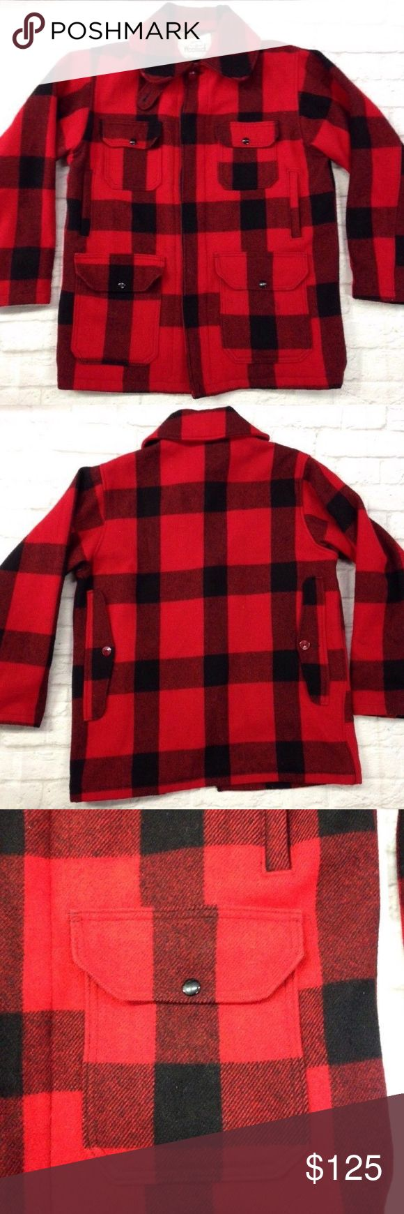 "WOOLRICH BUFFALO PLAID WOOL HUNTING JACKET vtg 42 Vintage Woolrich Buffalo Plaid Mackinaw Heavy Wool Hunting Coat Jacket   SIZE: 42  SHELL: 85% Wool / 15% Nylon LINING:75% Polyester / 25% Cotton  COLOR:  Red & Black Buffalo Plaid  NECKLINE TO HEMLINE MEASUREMENT: 30 ""  PIT TO PIT MEASUREMENT:  23""  SLEEVE LENGTH FROM TOP OF SHOULDER MEASUREMENT:  24""  Heavyweight Wool!  This wool hunting coat originated in the 1800s and is still as popular today. The rugged wool-blend shell wards off the…"