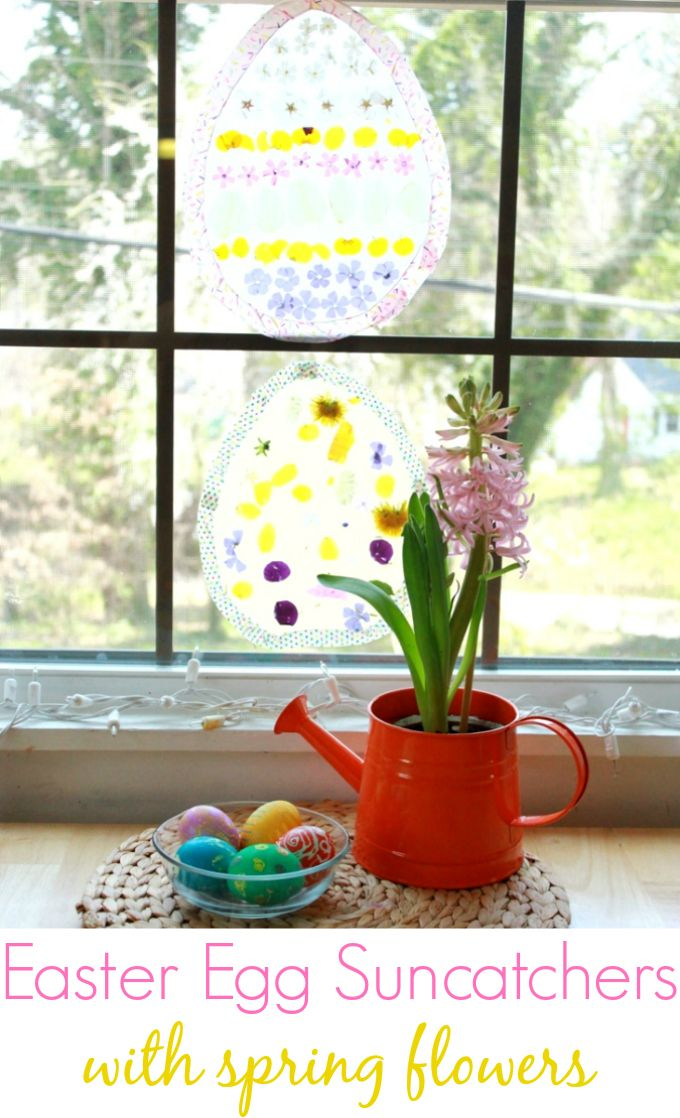 An easy and beautiful Easter egg suncatcher for kids to make with spring flowers!