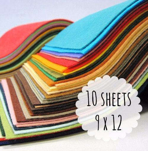 Felt Sheets, 9 x 12 inches, Wool Blend, Choose 10