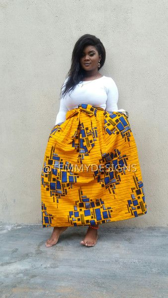 Faldas maxi - Falda maxi africana con bolsillos laterales, falda - hecho a mano por temmydesigns en DaWanda