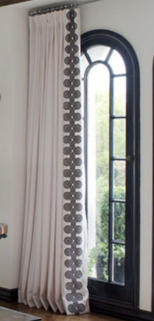 #Drapes, Beautiful white pleated drapes with decorative leading edge.  Black and white.  Classy