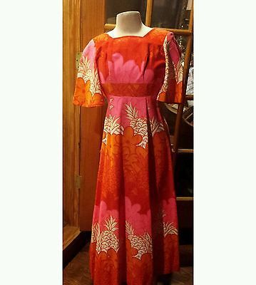 Vintage 60s Style Sears Hawaiian Fashions Psychedelic Maxi Size 6