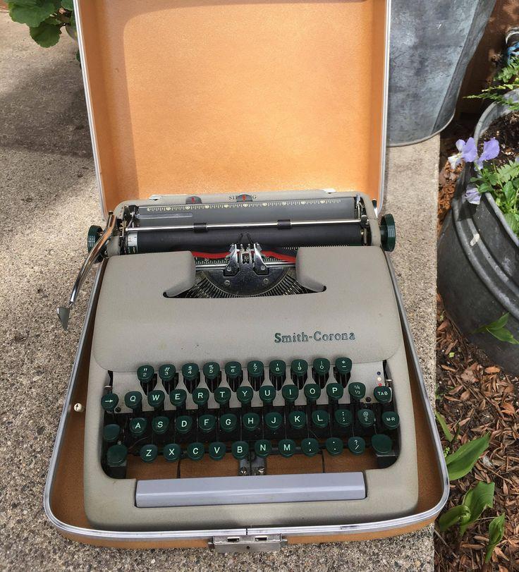 Vintage Smith Corona Typewriter 1957 Retro Office Decor 1950s Antique Smith-Corona Mid Century by SheBangArt on Etsy