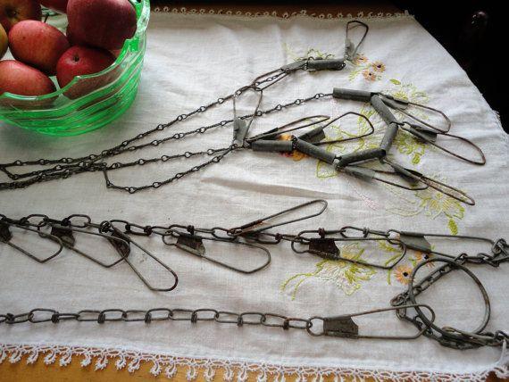 Vintage Fish Stringers Metal Hooks Fishing Gear Fishing Equipment Fishing Supplies Fish Hangar Snap Chain