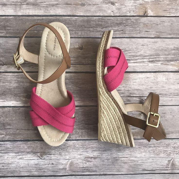 Lands End Womens Espadrilles Wedge Pink Canvas Sandals Shoes 8 1/2 B 8.5 #LandsEnd #PlatformsWedges