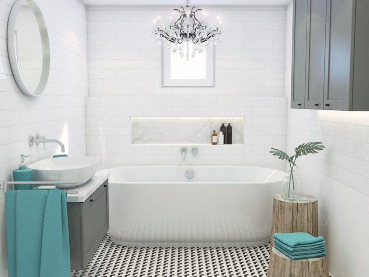 Bathroom in a vintage and glamour style - https://interiordesign.io/bathroom-in-a-vintage-and-glamour-style/