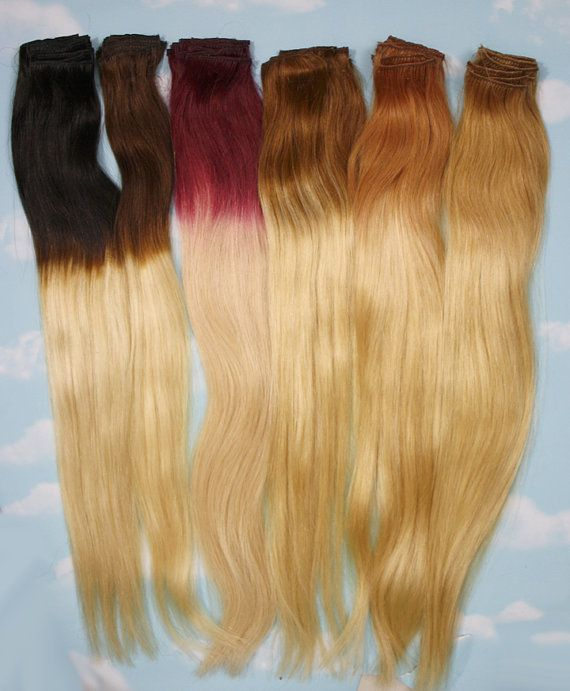 Handmade Bleached Tips Ombre Hair Extensions Human by Cloud9Jewels