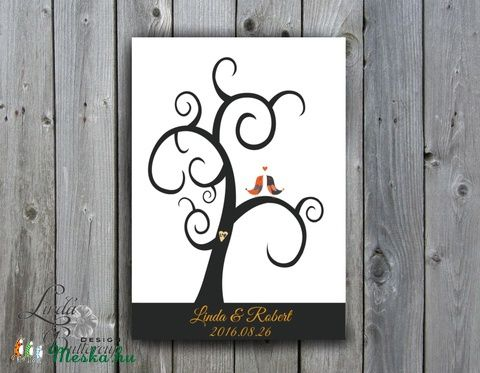 Esküvői ujjlenyomatfa, fa festmény kép, Esküvői fa, szerelmes madár pár, Emlék, Esküvői dekor, ujjlenyomat fa, Esküvő, Esküvői dekoráció, Meghívó, ültetőkártya, köszönőajándék, Nászajándék, Meska