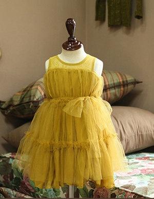 Flower girl dress yellow mustard color wedding birthday holloween