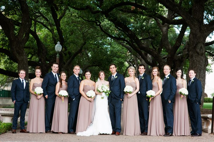 Loved the navy blue and soft dusty pink wedding party attire!