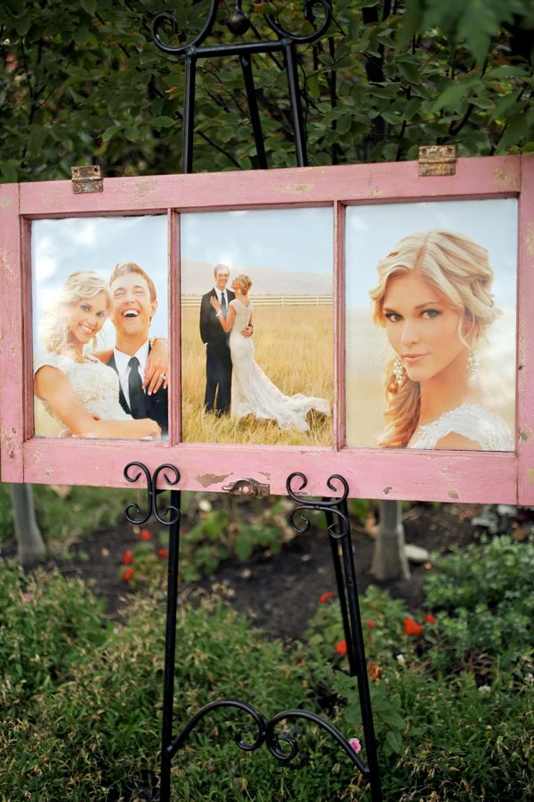 Shabby Chic Engagement Portraits on Display at the Reception | Pepper Nix Photography | See More! http://heyweddinglady.com/classic-vintage-blush-and-ivory-wedding-from-pepper-nix-photography/