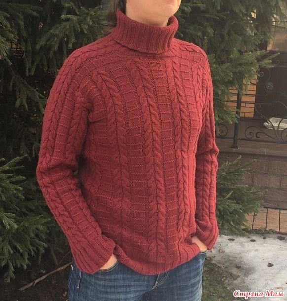 Мужской свитер ирландским методом.