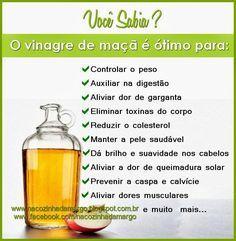 Na Cozinha da Margô: Dica: Vinagre de Maçã serve para...