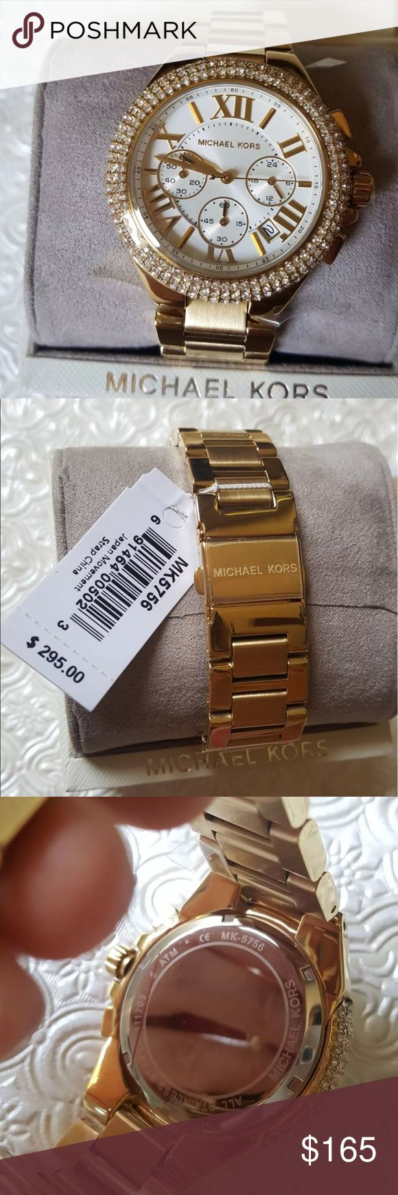 NWT Michael Kors Glitz Gold Tone Watch (Full size) New with tag! Come with box and a manual booklet.   **Authentic** **Priority shipping**  Price is firm. ORG$ 295.       Case diameter: 45 mm.Case thickness: 12 mm. Round case shape. Band width: 20 mm. Fold over clasp with safety release. Water resistant at 30 meters / 100 feet. Casual watch style. Michael Kors Bradshaw Chronograph Gold-tone Ladies Watch MK5756 Michael Kors Accessories Watches