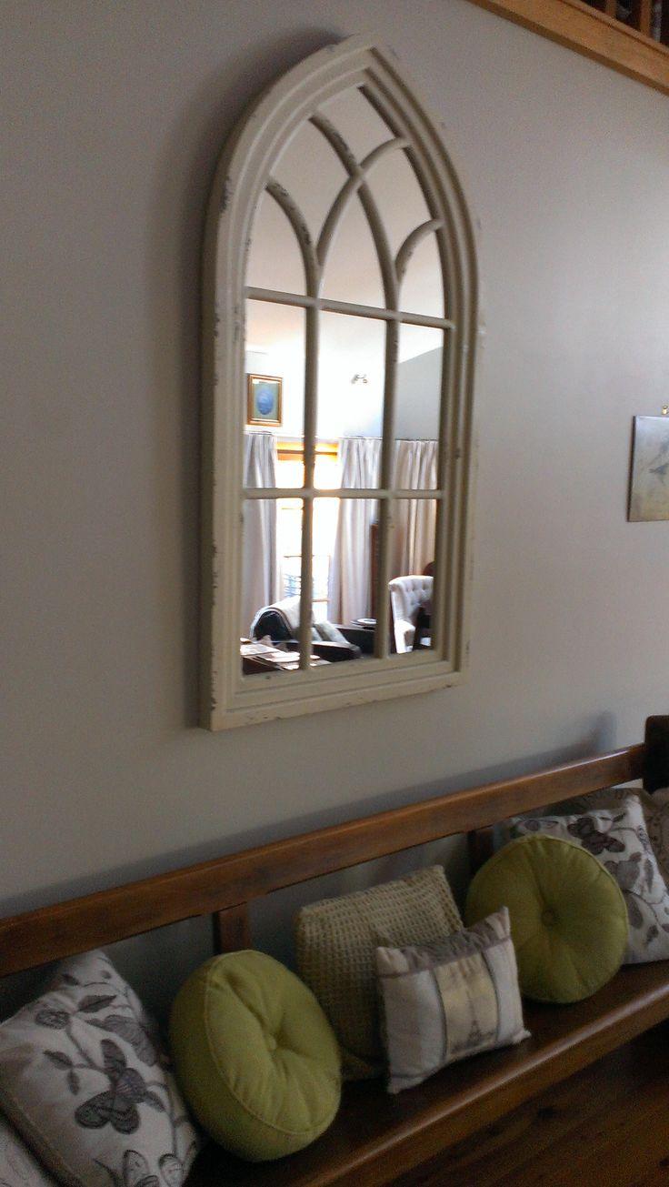 Church Window Mirror & Pew