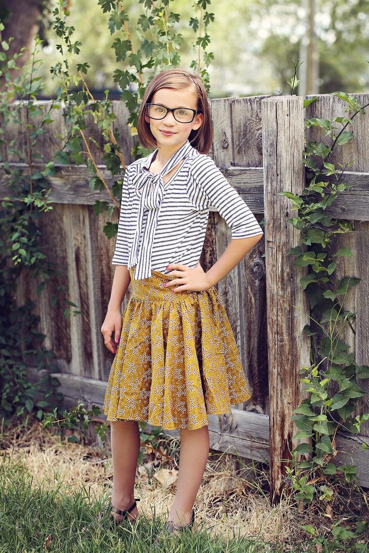 Vintage style girls tee, navy stripes, neck tie - Nautical Tee 12m/18m, 2T, 3T, 4T, 5, 6, 7/8, 9/10. $38.00, via Etsy.
