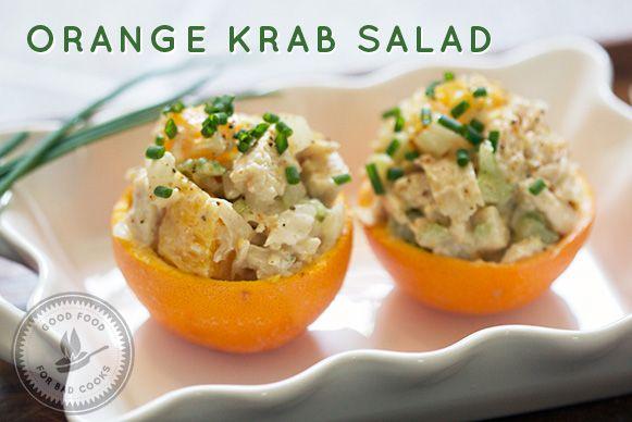 Orange Krab Salad - chicken salad in orange cups