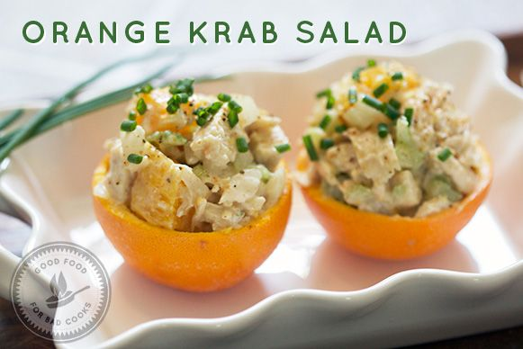 Orange Krab Salad - chicken salad in orange cups