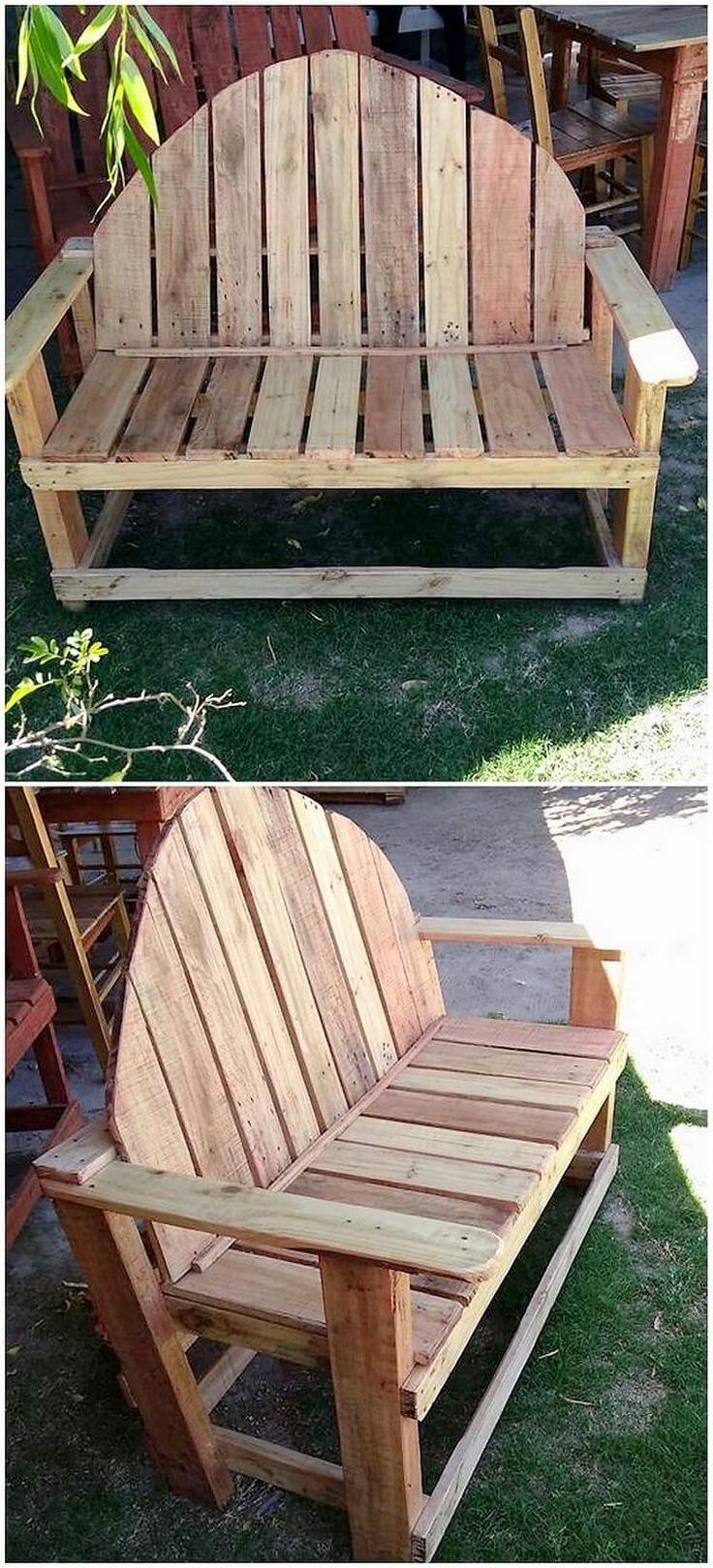 Square in shape, moderate with the size, and low in weight, this wood pallet garden bench creativity is outstanding looking. The entire view of the bench will highlight the miniature coverage of the wood pallet being added all around it. It is simple in designing coverage. #GardenBench