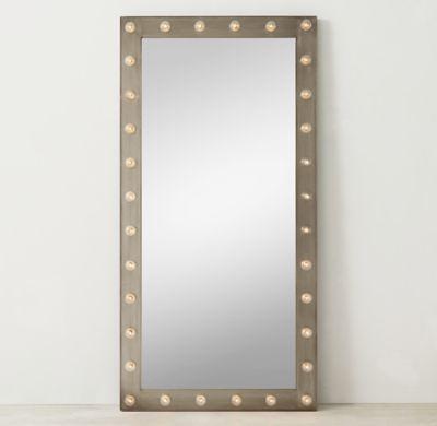 restoration hardware illuminated leaner full length floor mirror in antique pewter furniture. Black Bedroom Furniture Sets. Home Design Ideas