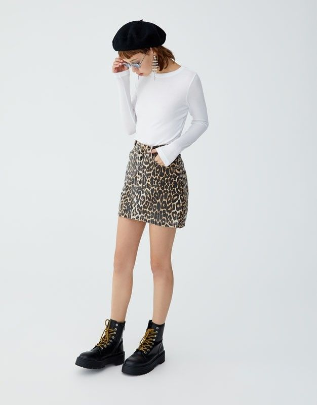 Pull And Bear Leopar Etek Outfits Outfits Invierno Denim Skirt Outfits