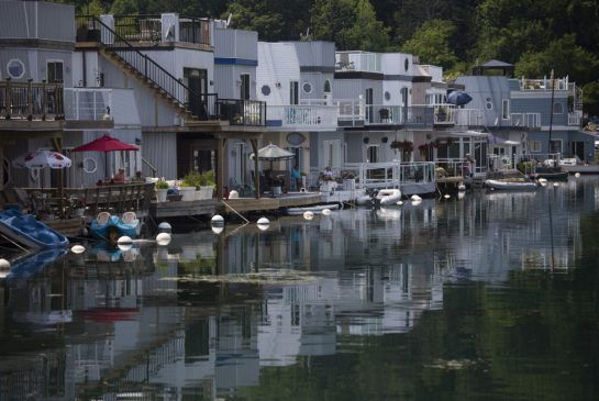 A tight-knit community of 24 floating homes is nestled in Bluffer's Park Marina at the base of the Scarborough Bluffs. Turn off Kingston onto Brimley