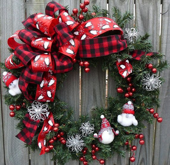Winter / Holiday Wreath - White Birds Wreath - Whimsical Birds Wreath in Red Black Silver and White