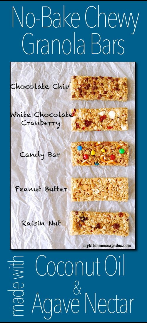 My most popular recipe, No Bake Chewy Granola Bars, revised using coconut oil and agave instead of butter and honey.  Can't tell a difference!!