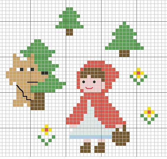 Free Little Red Riding Hood & Wolf Cross Stitch Chart Pattern