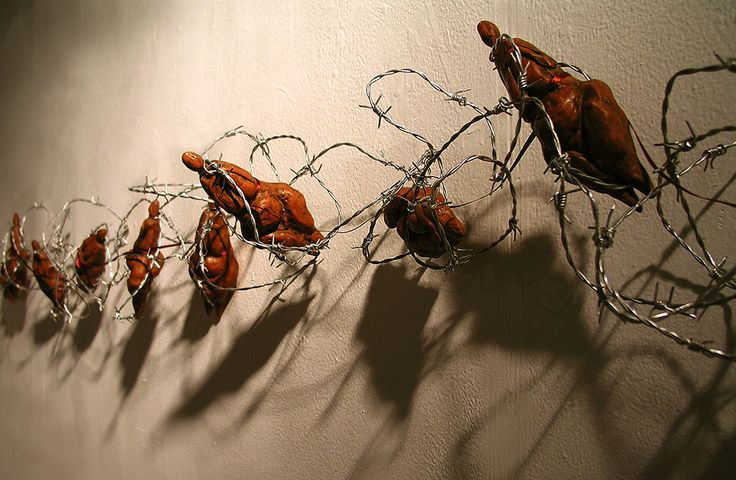G. Dalli Cani - Fertility (body of work) 2005/06 - Barbed wire, ribbon, clay.