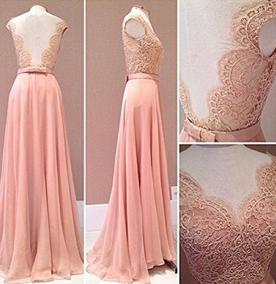 blush pink prom Dresses,lace prom dress,long evening gowns,lace backless prom dress